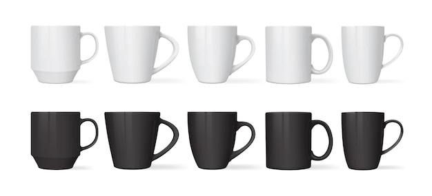 Canecas brancas e pretas de diferentes designs isoladas no fundo branco