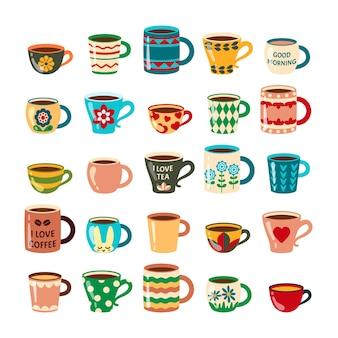 Canecas de café. copos coloridos decorados pratos de café de móveis de cozinha.