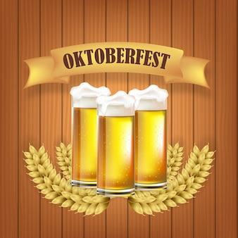 Canecas de cerveja do festival de outubro com ilustração de fundo de textura de madeira
