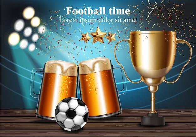 Canecas de cerveja e taça de futebol no estádio