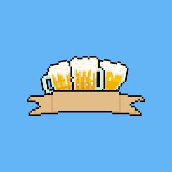 Canecas de cerveja pixel art com fita marrom.
