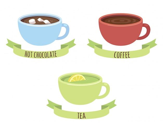 Canecas de chocolate, café e chá