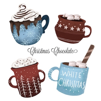 Canecas de chocolate de natal - coleção de mão desenhada
