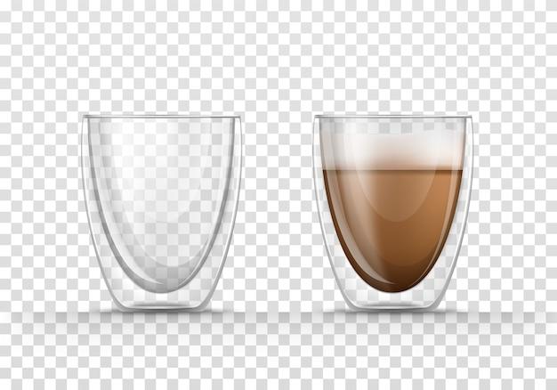 Canecas de vidro vazias e com cappuccino ou latte em estilo realista.