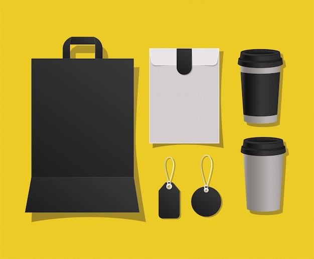 Canecas e etiquetas de saco de maquete