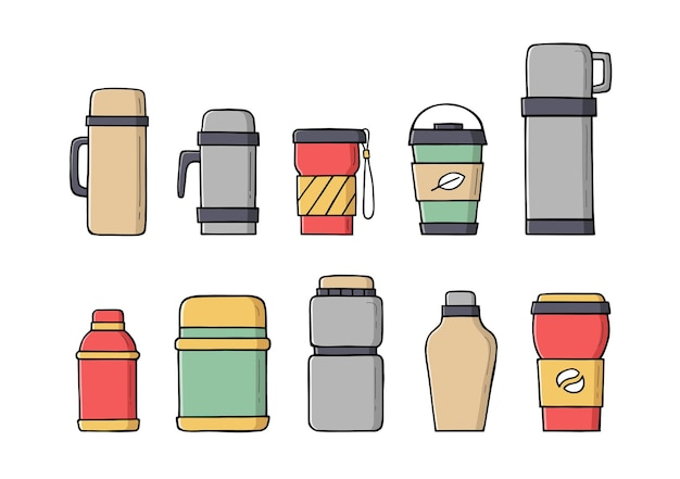 Canecas térmicas de viagem coloridas, copos reutilizáveis para bebidas quentes em estilo doodle.