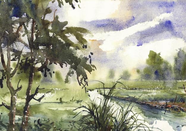Canel em um campo de vila arte e design em aquarela