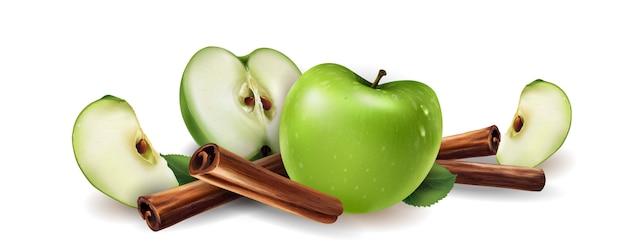 Canela e maçãs verdes