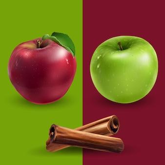Canela, maçãs verdes e vermelhas