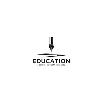 Caneta antiga - logotipo para educação e conhecimento