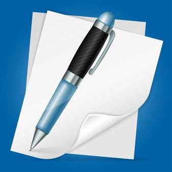 Caneta com folha de papel