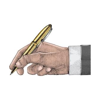 Caneta de exploração de mão, homem de negócios