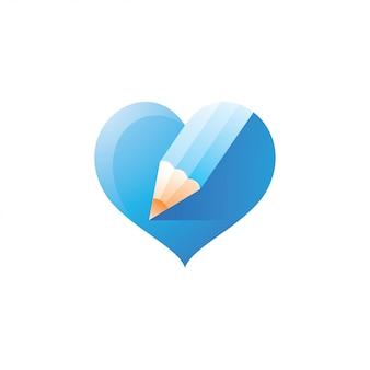 Caneta de lápis e amor coração logotipo