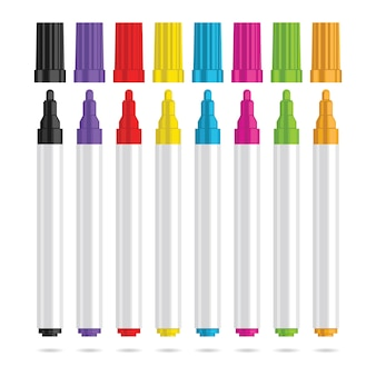Caneta de marcadores. conjunto de oito marcadores de cor. ilustração vetorial