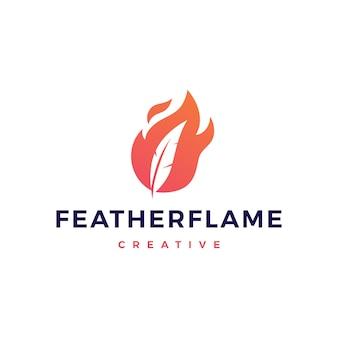 Caneta de pena ícone de vetor de logotipo de chama de fogo