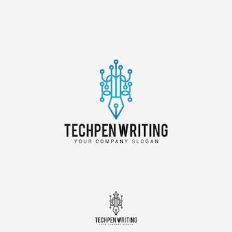 Caneta de tecnologia escrevendo logo