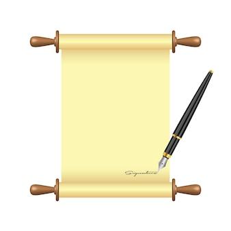 Caneta de tinta assina ilustração de papel de pergaminho
