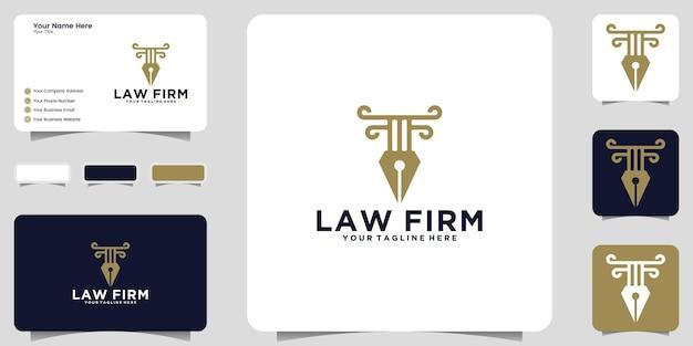 Caneta e lei justiça logotipo, ícone e design de cartão de visita