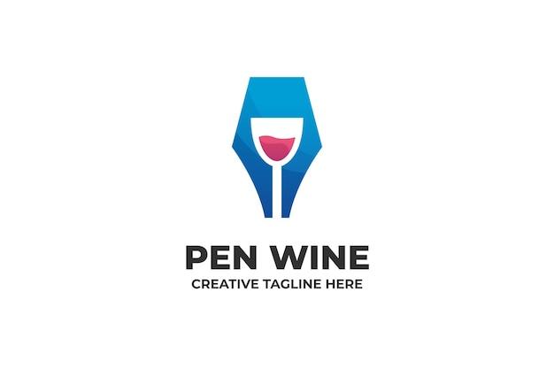 Caneta e logotipo da empresa de vinhos