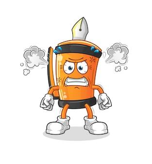 Caneta engraçada desenho de ilustração de mascote muito zangado