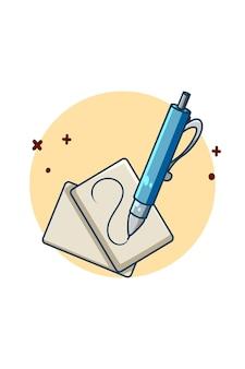 Caneta esferográfica com papel para ilustração de desenho animado da volta às aulas