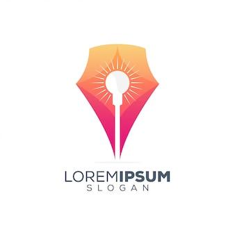 Caneta lâmpada colorido logotipo design
