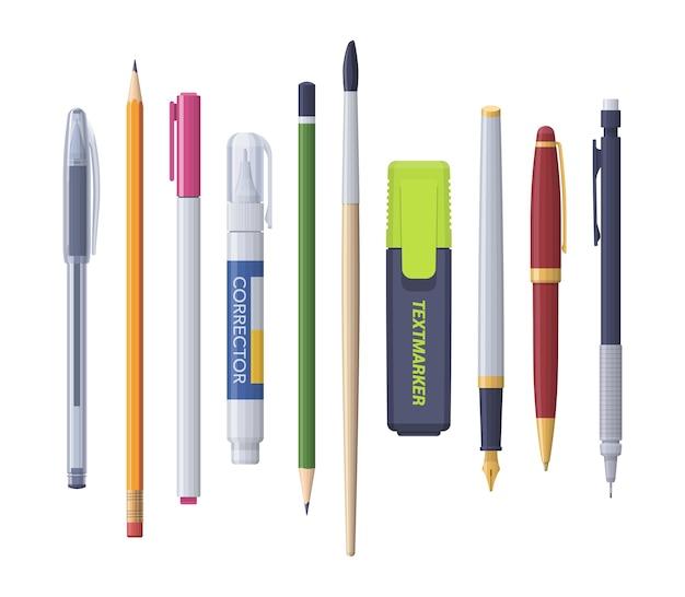 Caneta, lápis, marcador, corretor, pincel afiado. kit de papelaria