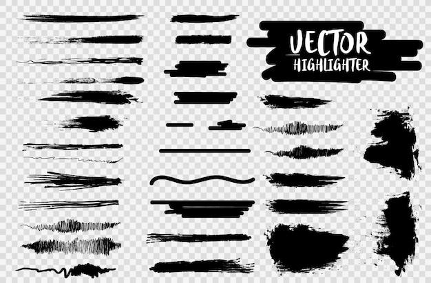 Caneta marca-texto sublinhar traços. curso de cor do marcador, pincel caneta mão desenhada sublinhado. destaque traços pretos, linhas isoladas em um fundo transparente.