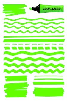 Caneta marca-texto verde mão desenhadas linhas e quadrados