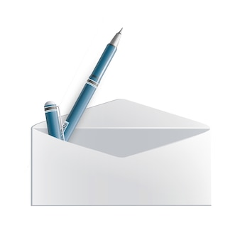 Caneta realista dentro do envelope