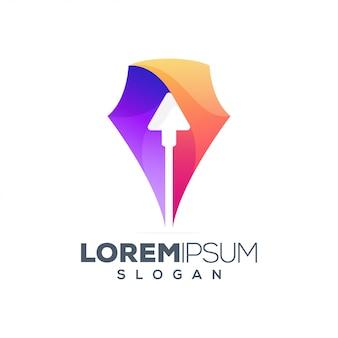 Caneta seta colorido logotipo design