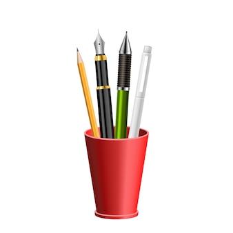 Canetas e lápis realistas em vidro plástico