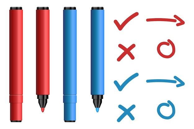 Canetas hidrocor vermelhas e azuis com marca e cruz