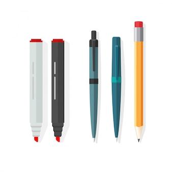 Canetas, lápis e marcadores de ilustração vetorial no design plano dos desenhos animados