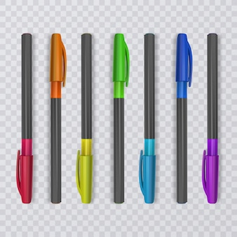 Canetas realistas com as cores do arco-íris. ilustração.