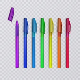 Canetas realistas com as cores do arco-íris.