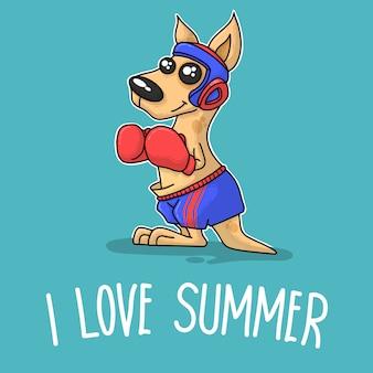 Canguru boxe e dizendo que eu amo o verão
