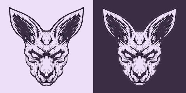 Canguru cabeça logo linha arte