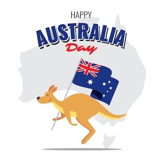 Canguru carregando a bandeira nacional da austrália