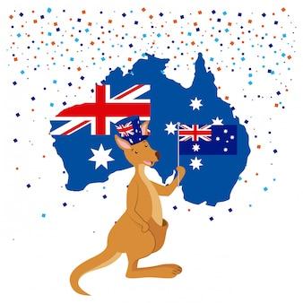 Canguru com bandeira da austrália e confetes
