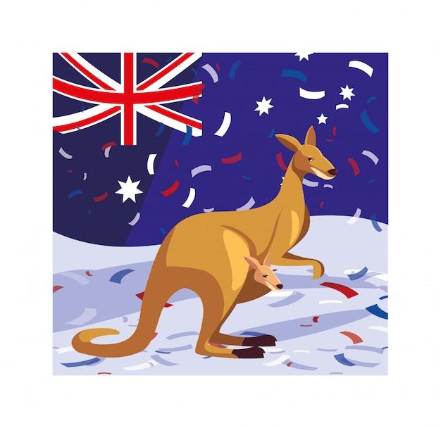 Canguru com bandeira da austrália
