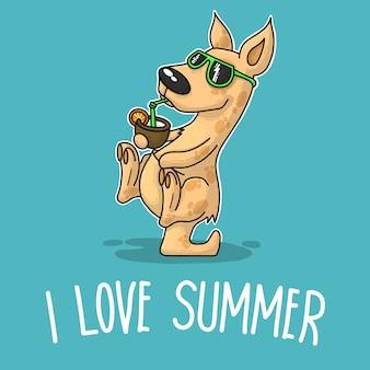 Canguru com coquetel e dizendo que eu amo o verão