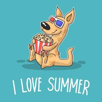 Canguru dizendo que eu amo o verão