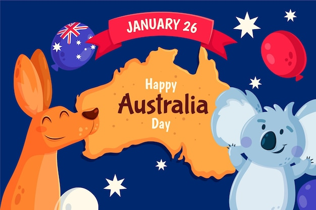 Canguru e urso coala comemorando evento