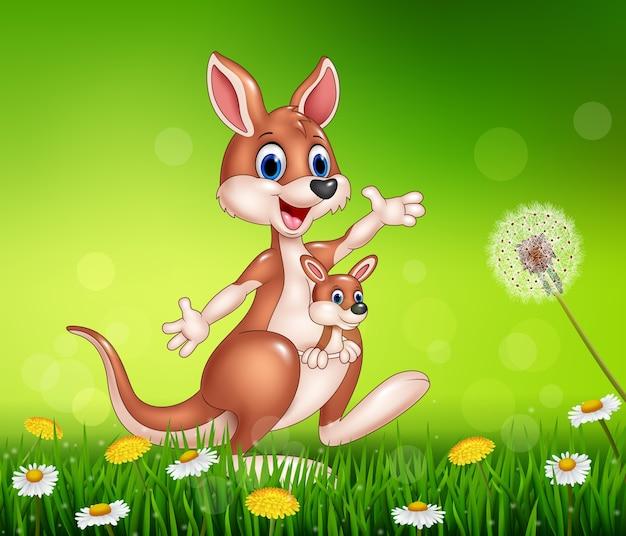 Canguru engraçado dos desenhos animados carregando um joey fofo