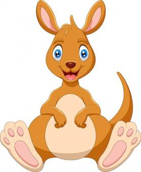 Canguru engraçado dos desenhos animados está sorrindo