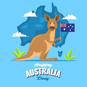 Canguru segurando uma bandeira no dia da austrália