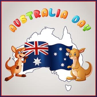 Cangurus e bandeira australiana para o emblema do dia da austrália
