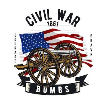 Canhão da guerra civil Vetor Premium