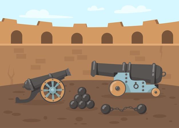 Canhões medievais com balas de canhão na torre